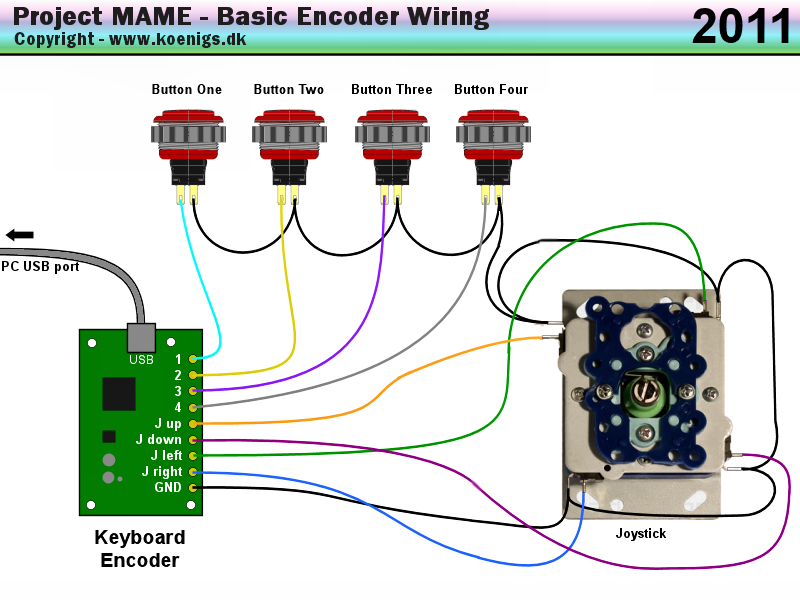 basicwiring project mame basic arcade and mame joystick and push button Joysticks Connections Diagram at nearapp.co